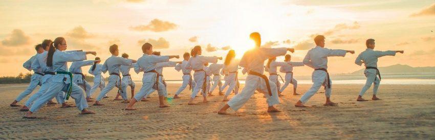 personas practicando karate